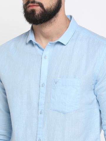 Showoff | Blue Showoff Mens Linen Solid  Slim Casual Shirts