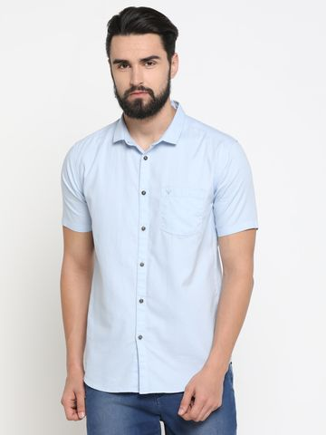 Showoff | Blue Showoff Mens Cotton Printed  Slim Casual Shirts