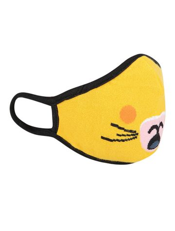 Soxytoes | Soxytoes Yellow Cats Stylish Protective Super Safe Washable Knitted Cotton Kid's Face Mask