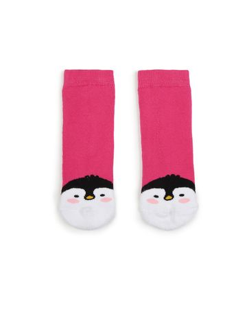 Soxytoes | Soxytoes Penguin Cotton Crew Length Pink Kids Socks-Age (2-4 Years)