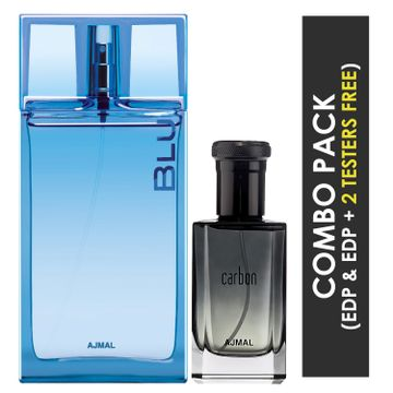 Ajmal | Ajmal Blu EDP Aquatic Woody Perfume 90ml for Men and Carbon EDP Citrus Spicy Perfume 100ml for Men + 2 Parfum Testers FREE