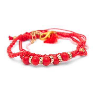 globus   Globus Gold and Red Clasp Bracelet
