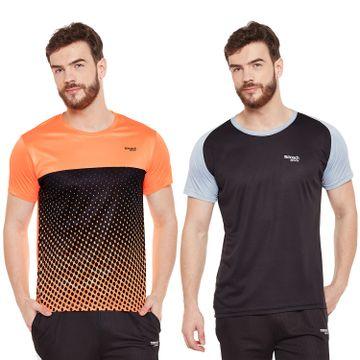 Masch Sports | Masch Sports Mens Polyester Printed & Colourblocked T-Shirts- Pack of 2 (Orange,Black & Light Grey)