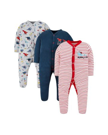 Mothercare   Red, Grey and Blue Printed Romper - Pack of 3