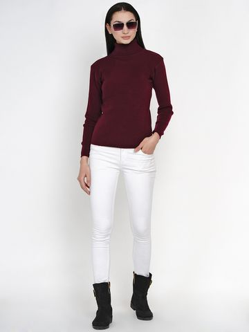 Fabnest | Fabnest Women Winter Wine High Neck Sweater (Medium)