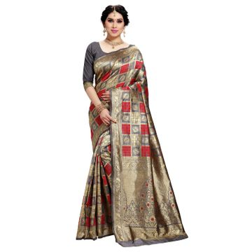 POONAM TEXTILE | Women's Checkered Woven Banarasi Art Silk Saree (Grey)