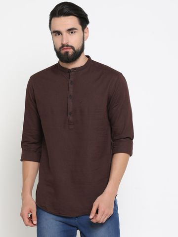 Showoff | Brown Showoff Men's Linen Solid Slim Casual Kurtas
