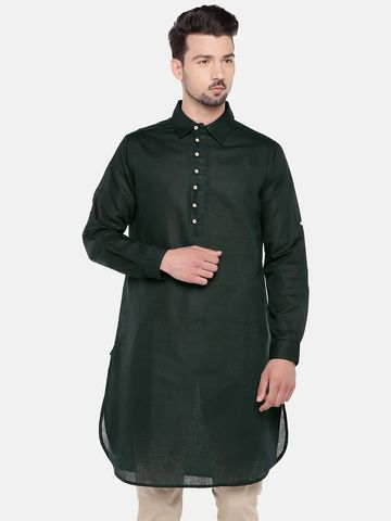 Ethnicity | Ethnicity Bottle Green Cotton Linen Men Kurta