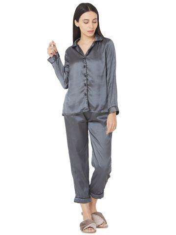 Smarty Pants   Silk satin dark grey night suit