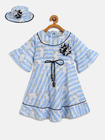 Bellamoda | Bella Moda A line, Fit & Flair, Casual Dress, For Girls, Blue,3 - 6 Months