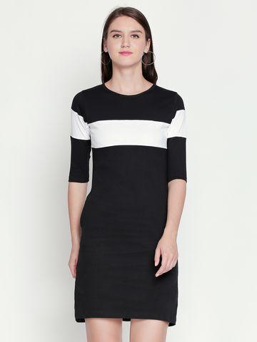 Jhankhi | Black Colourblocked Shift Dress