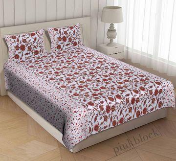 Pinkblock.in   Orange Cotton Iris Bedsheet