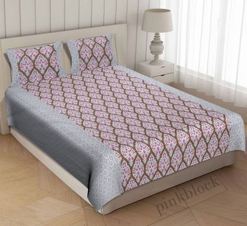 Pinkblock.in | Pink Cotton Iris Bedsheet