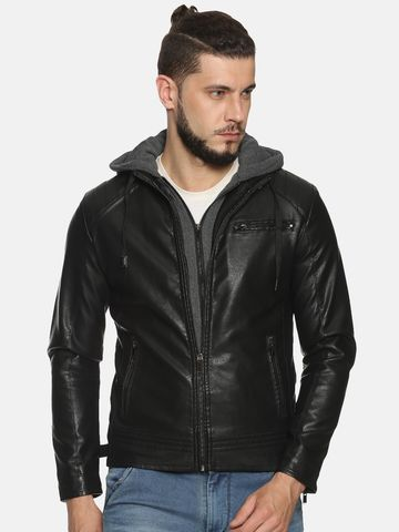 Showoff | Men Black Solid Leather jacket with Detachable Hood