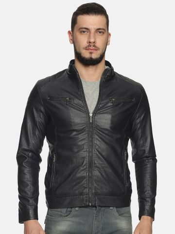 Showoff | Men Navy Solid Leather jacket with Detachable Hood