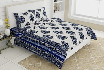 Pinkblock.in | Blue Cotton Jackpot Bedsheet