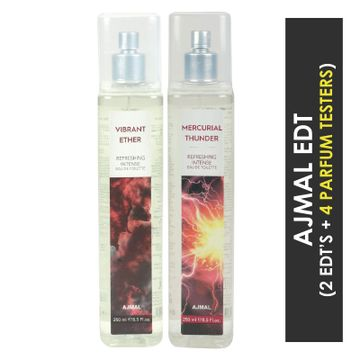 Ajmal | Ajmal Vibrant Ether & Mercurial Thunder EDT  pack of 2 each 250ml (Total 500ML) for Unisex + 4 Parfum Testers