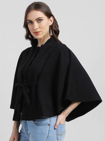 Zink London   Zink London Women's Black Solid Cape Jacket