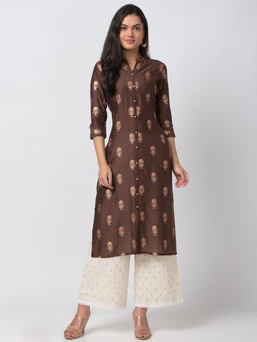 Ethnicity | Ethnicity Art Silk Straight Women Brown Kurta