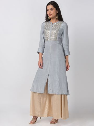 Ethnicity | Ethnicity Cotton Silk A Line Three-Fourth Women Grey Kurta
