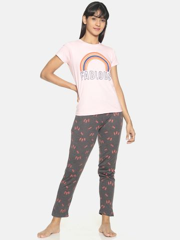Kryptic | Kryptic Womens 100% cotton printed nightsuit with all over printed bottom and graphic printed Tshirt