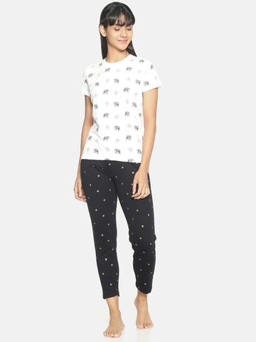 Kryptic | Kryptic Womens 100% cotton printed nightsuit with all over printed bottom and Tshirt