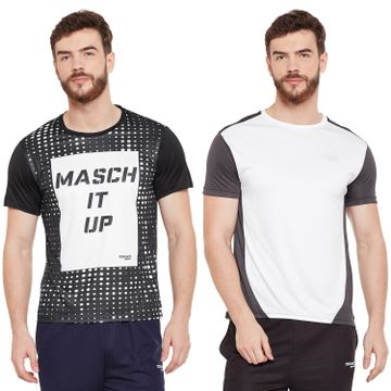 Masch Sports | Masch Sports Mens Polyester Printed & Colourblocked T-Shirts - Pack of 2 (White, Black & Dark Grey)