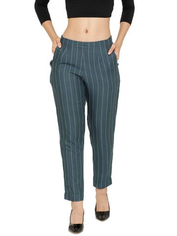 De Moza | De Moza Women's Cigarette Pant Woven Bottom With Stripes Rayon Dark Grey