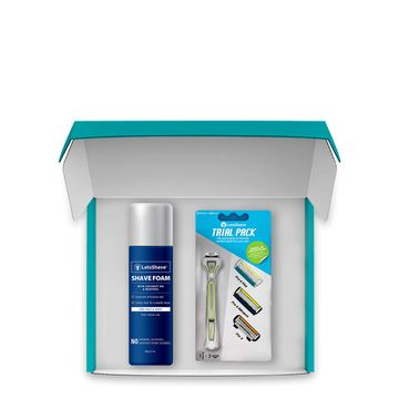 LetsShave | LetsShave Executive Trial Shaving Kit - Trial Pack + Shaving Foam 200 gm (Blue)