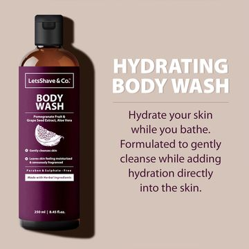LetsShave   LetsShave Body Wash - Hydrating & Relaxing Aromatic Therapy - Pomegranate Fruit Extract and Grape seed oil - 250 ml