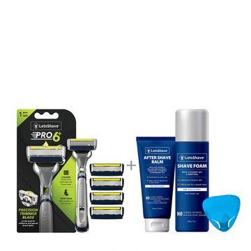 LetsShave | LetsShave Pro 6 Advance Razor Value Kit for Men - Pack of 4 Pro 6 Plus Blades + Razor Handle + Razor Cap + Shave Foam - 200 gm + After Shave Balm