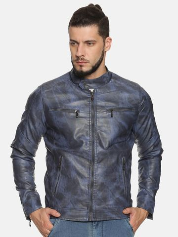 Showoff | Men Blue Casual Solid jacket