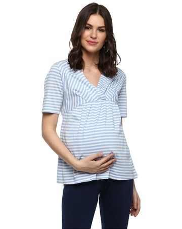 Mothercare | Momsoon women maternity half sleeve top-Striped Blue