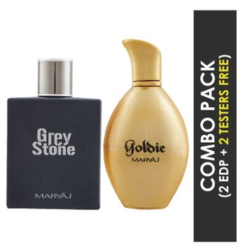 Maryaj | Maryaj Grey Stone Eau De Parfum Aromatic Woody Perfume 100ml for Men and Maryaj Goldie Eau De Parfum Fruity Floral Perfume 100ml for Women + 2 Parfum Testers FREE