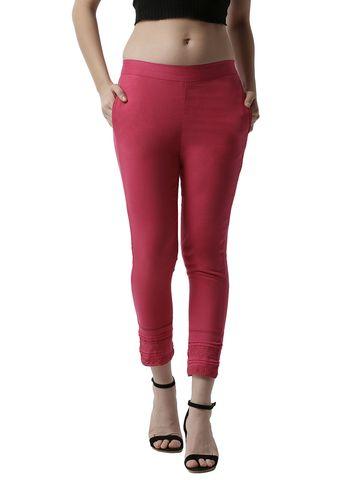De Moza   De Moza Women's Cigarette Pant Woven Bottom with Lace Cotton Fuchsia
