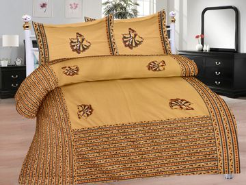 Pinkblock.in   Beige Cotton Patchwork Bedsheet