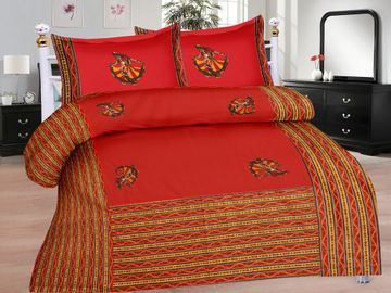 Pinkblock.in | Red Cotton Patchwork Bedsheet
