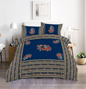 Pinkblock.in | Blue Cotton Patchwork Bedsheet