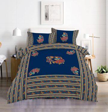 Pinkblock.in   Blue Cotton Patchwork Bedsheet