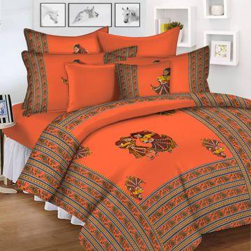 Pinkblock.in   Orange Cotton Patchwork Bedsheet