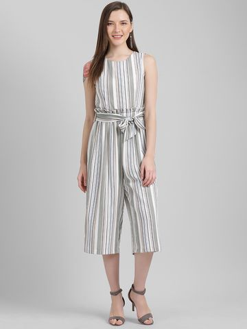 Zink London | Zink London Women's White Striped Regular Jumpsuit