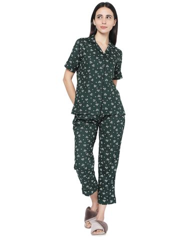 Smarty Pants | Smarty Pants women's bottle green cotton floral print night suit