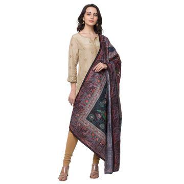 Ethnicity | Ethnicity Cotton Blend Straight Women Black Dupatta