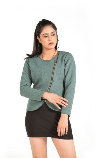 EUDORA CUT | Pastel Green Casual Jacket