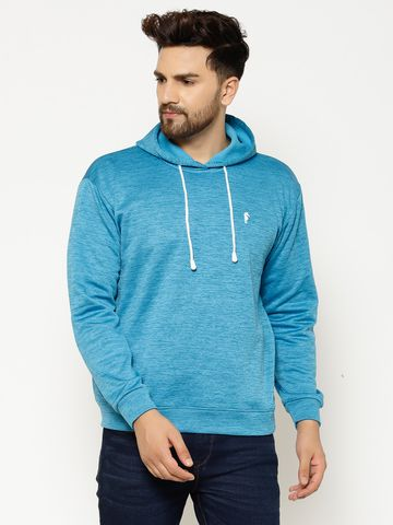 Eppe | Eppe Men's Blue Polyester Blend  Performance Lightweight Full Sleeves Pullover Fleece with Drawstring Sweatshirt