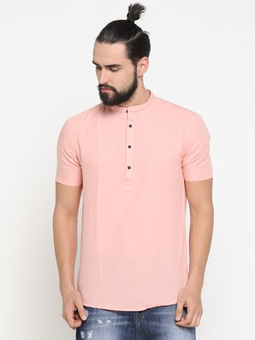 Showoff | Pink Showoff Men's Cotton Solid Slim Casual Kurtas