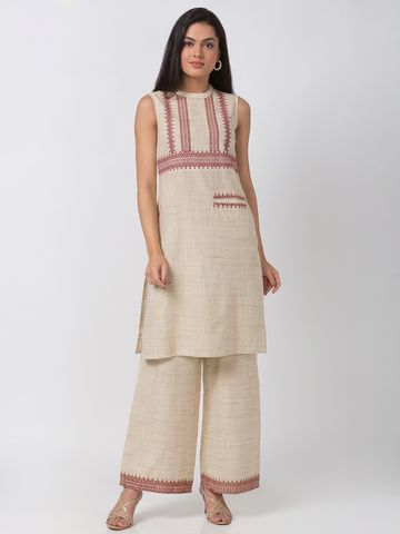 Ethnicity | Ethnicity Ecru Cotton Blend Women Kurta