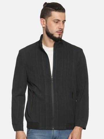 Showoff | Men Black Casual Checks Sporty Jackets