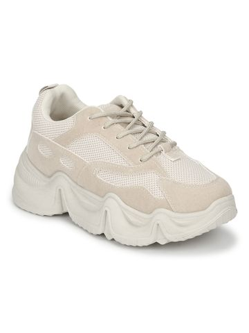 Truffle Collection | Stone Beige Lace-Up Chunky Sneakers With Cleated Sole