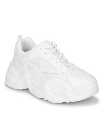 Truffle Collection | White PU Lace-Up Chunky Sneakers With Cleated Sole